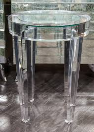 round acrylic side table with inset glass at stdibs