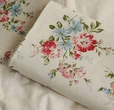 Small Picture Vintage Floral Fabric with Peony flower Linen Cotton fabric