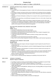 Architectural Project Manager Resume Samples Velvet Jobs