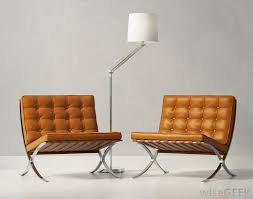 Popular Modern Funiture With Cognac Leather Chairs Near Lamp