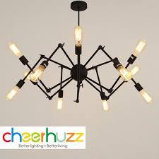 vintage iron spider hanging pendant lamp chandelier ceiling light fixtures red 8 lights