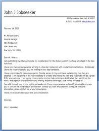 Gallery Of Sample Resume Recommendation Letter Waiter Cover Letter