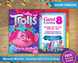 Free Birthday Card Template Word Interesting DIY Printable 48x48 Trolls Poppy Birthday Party Invitation Etsy