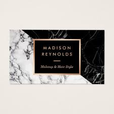 makeup artist fashionable mixed black white marble business card
