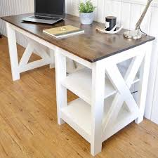 a photo of a white wooden desk with a laptop on it