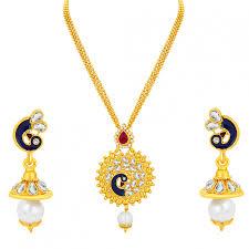 sukkhi charming peacock gold plated kundan pendant set for women