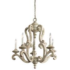 distressed white chandelier made of wooden with metal chain having 6 bulbs candle lights beautiful