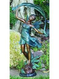 garden sculpture. Dancing Fairy Brass Garden Statue - Baron Outdoor Art Pros Sculpture C