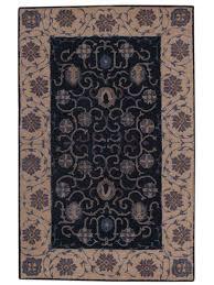 hand tufted navy blue 5x8 pesian style indoor outdoor oriental area rug wool