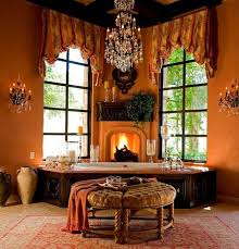 what color curtains go with orange walls luxury bathroom with orange paint large jetted tub and crystal chandelier