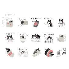 Preferred 45 Pcs Cute <b>Cat</b> Kitten Black & White Sticker <b>Pack</b> (WB663)