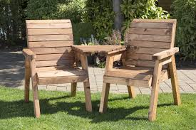 uk made fully assembled heavy duty wooden garden love seat bench with table