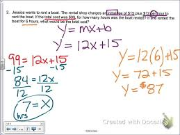 common core math write a linear equation given word problem in