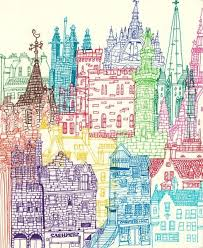 Delighful Architecture Drawing Colour Illustrated Maps