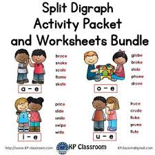 A printable worksheet designed to teach digraphs ch, ph, th, wh, sh, kn. Split Digraphs Activity Packet And Worksheets Bundle By Kp Classroom