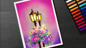 Simple Scenery Drawing And Painting Of Street Light