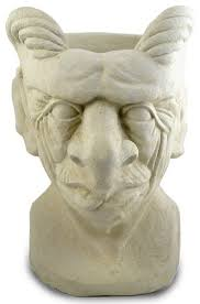 garden gargoyle cast stone sculpture and head planter traditional outdoor pots and planters by modern artisans
