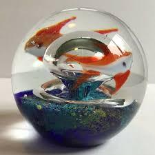 Glass Aquarium Paperweight Orange White Fish Goldfish