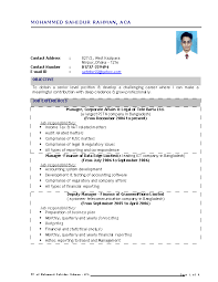Chartered Accountant Resumes Fresher Chartered Accountant Resume Pdfsimpli