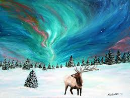 elk painting elk under the northern lights by amy scholten