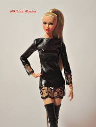 leather and lace dress fashion royalty fr2 ooak outfit