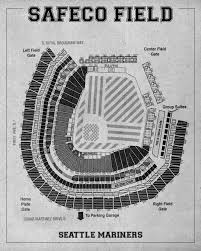 Safeco Field Seating Chart Print Of Vintage Safeco Field Seating Chart On Photo Paper