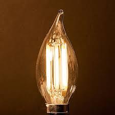energy saving 6 watt led filament candelabra light bulb dimmable soft white 2700k flame tip exact