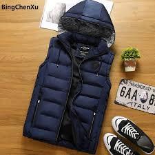Hooded vests men Sleeveless Jacket New <b>Men Thickening Cotton</b> ...