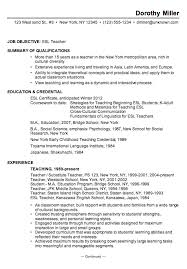 Esl Job Description Resume