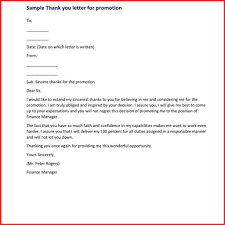 Lovely Appreciation Letter For Promotion Excuse Letter