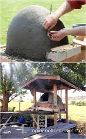 diy wood fired outdoor pizza earth oven with roof above