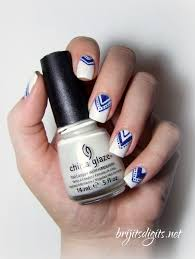 White & Blue Chevron Nail Art | Brijit's Digits