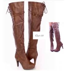 home women s brown thigh high heel boots faux leather reduced prev
