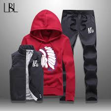 LBL Casual Men Tracksuit <b>Sets</b> Fleece Jacket Vest Pants <b>3 Pieces</b> ...