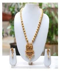 lookethnic antique gold plated elephant design artificial pearl necklace jewellery set with earrings lookethnic antique gold plated elephant design
