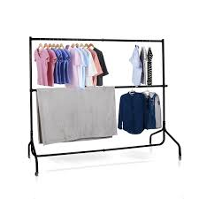 voilamart 6ft metal clothes rail stand heavy duty rack garment portable double rolling