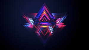 neon abstract purple symmetry triangle facets justin maller light lighting darkness graphics 2560x1440 px puter wallpaper