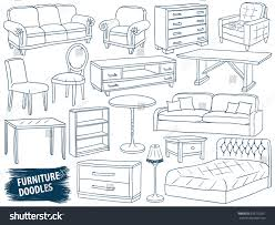 Image Industrial Furniture Doodles Set Interior Design Sketch Collection Home Accessories Modern Armchair Retro Shutterstock Furniture Doodles Set Interior Design Sketch Stock Vector royalty