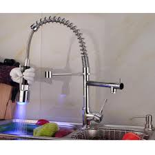 Pull Out Spray Kitchen Faucets Contemporary Single Handle Chrome Finish Pull Out Spray Led