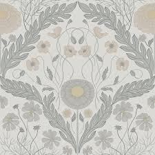 Columbia Paints. Marguerite Grey Damask Wallpaper
