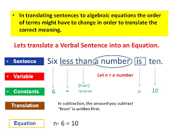 in translating sentences to algebraic equations the order of terms might have to change in order