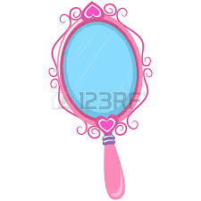 hand mirror clipart. princess mirror: vector illustration of vintage pink hand mirror clipart