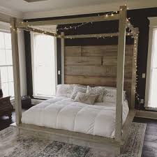 Reclaimed Wood Canopy Bed (white) in 2019 | Products | Wood canopy ...