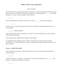 Free Printable Lease Agreement For Renting A House Short Term Lease Agreement Free Sample Template