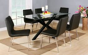 clear glass black high gloss dining table and 6 chairs glass top dining table set 6