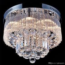 Flush Ceiling Light Fixtures Modern 2019 Modern K9 Crystal Raindrop Chandelier Lighting Flush Mount Led Ceiling Light Fixture Pendant Lamp For Dining Room Bedroom With 9 G9 Bulbs From