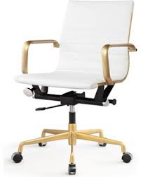 white frame office chair. Vegan Leather Office Chair Color: White, Frame Finish: Gold White