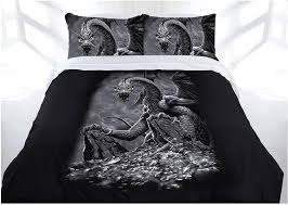 gothic green eyed dragon bed doona duvet cover set single double queen king lee s dragon dreams
