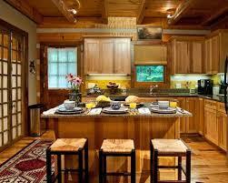 cabin kitchen design. Open Concept Kitchen - Mid-sized Rustic L-shaped Medium Tone Wood Floor Cabin Design G