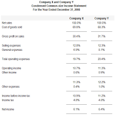 Financial Statement Examples Preparation Of Common Size Financial Statements Accounting